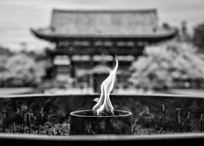 Close-Up Of Flame At Todaiji Temple