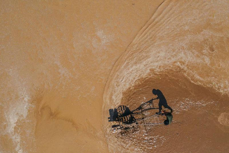 Man working in sea