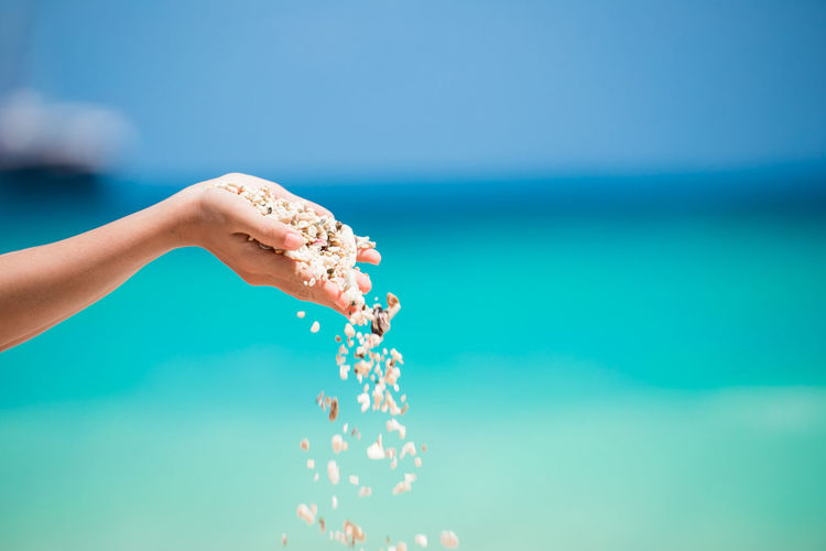 Cropped Hands Of Woman Pouring Seashells Against Sea During Sunny Day