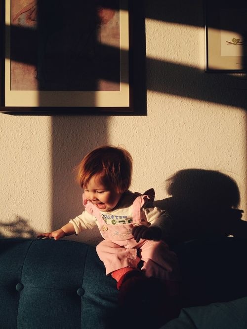 Everyday Lives Everyday Joy My Kid is playing in the couch, jumping from the back again and again. These days it's her favorite activity. Cute Kids Fun Kids Being Kids Kids Playing