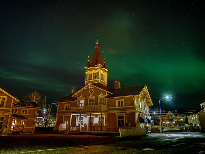 Aurora over Ånge Building Exterior Night Architecture Built Structure Illuminated Building Sky Religion Belief Place Of Worship No People Spirituality Nature Tower City Travel Destinations Star - Space Astronomy Spire  Aurora Borealis Northern Lights Capture Tomorrow