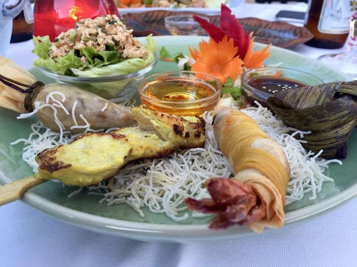 Close-Up Of Various Thai Food Served On Plate In Restaurant