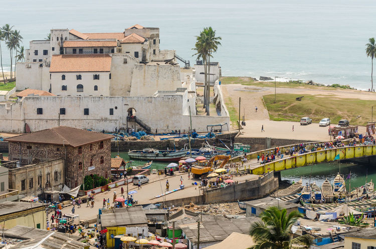 Elmina Castle Elmina Coastal Ship Boat Boats Harbor Harbour Africa African Sea Coast