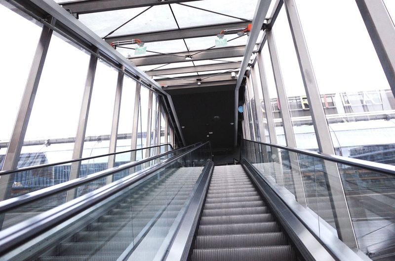Low angle view of empty escalator