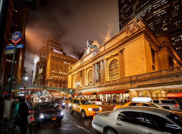 Central Station New York New York City Transportation Architecture Building Exterior Built Structure Car City City Life Cityscape Illuminated Night Outdoors Sky Statue Traffic Yellow Taxi Mobility In Mega Cities