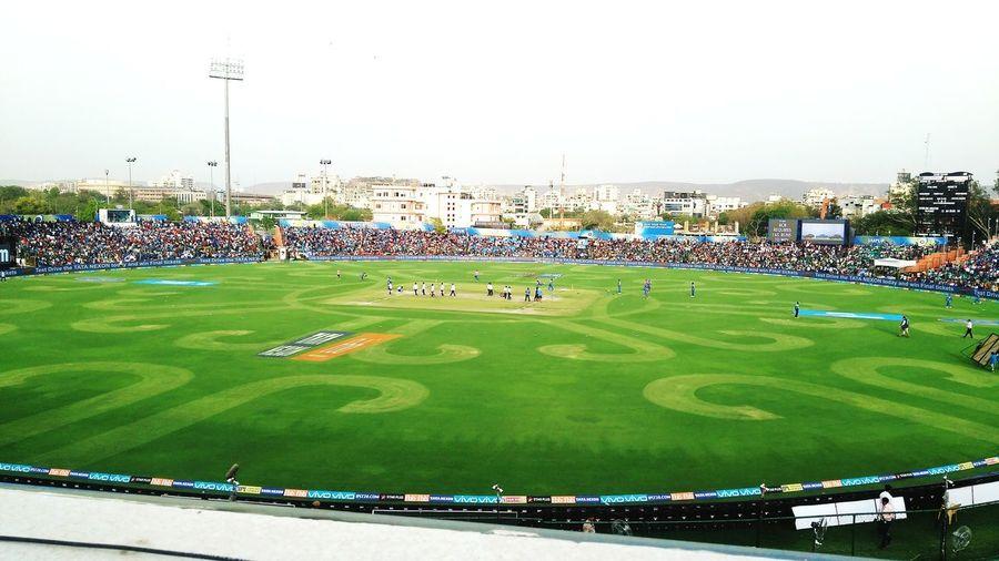Cricket Field Cricket! Bat And Ball PracticeMakesPerfect Sport Aerial View Sky Green Color Playing Field Stadium Floodlight Floodlit