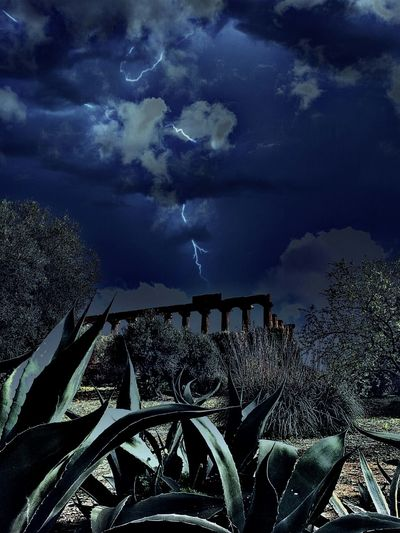 Templi by night with Temples Valle Dei Templi Agrigento Edit Night Storm Night Lights