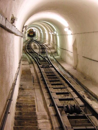 Kurzstreckenstandseilbahn Built Structure Corridor Lighting Equipment No People Standseilbahn The Way Forward Tunnel Walkway