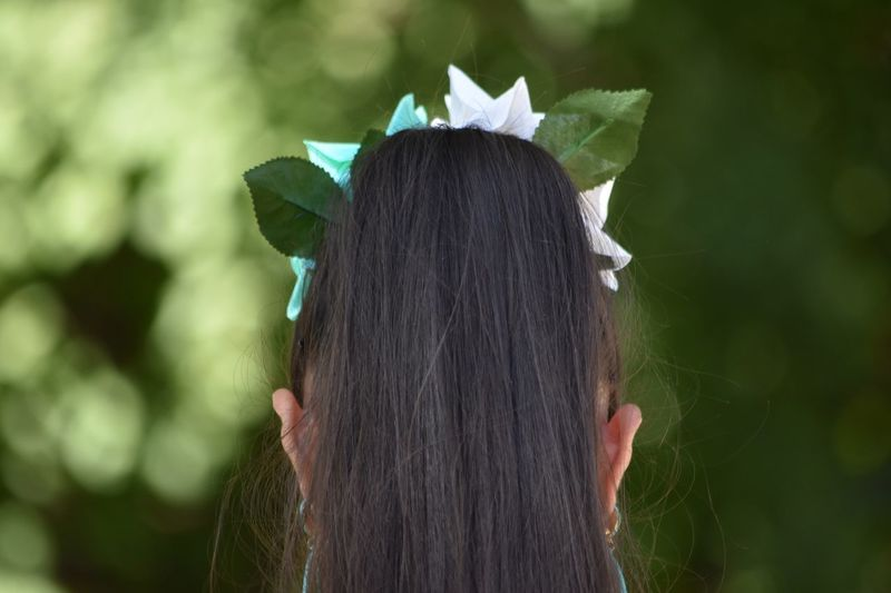 Rear view of woman with ponytail against trees