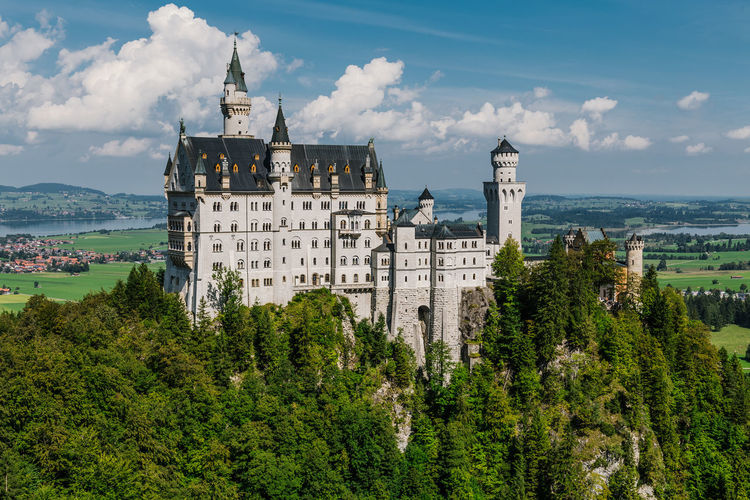 Architecture Building Exterior Built Structure Cloud - Sky Day Mountain Nature Neuschwanstein No People Outdoors Sky Tree Water