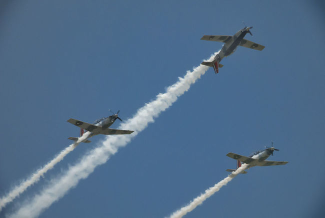 Aerobatics Air Force Air Vehicle Airplane Airshow Blue Day Fighter Plane Flying Low Angle View Military Military Airplane Mode Of Transport No People Outdoors Sky Smoke - Physical Structure Speed Teamwork Three Transportation Vapor Trail