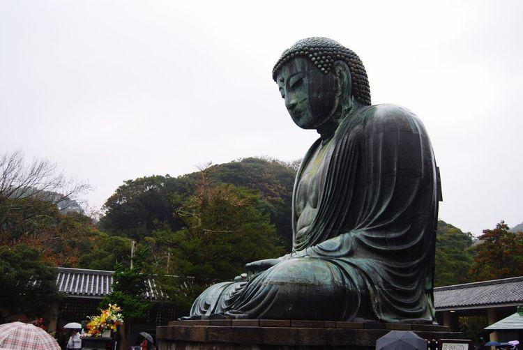 Kamakura Japan Greatbuddha Budda Sculpture Statue Representation Male Likeness Human Representation Art And Craft Sky Religion Architecture Outdoors