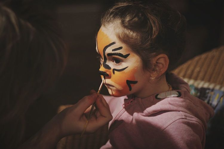 Rawr! Tiger Face Paint Girl Little Girl Child Childhood Children's Portraits Childhood Memories Art Creativity Orange