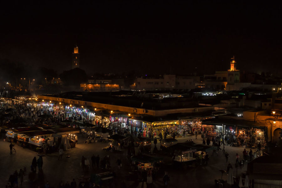 Jemaa el-Fna EyeEm Best Shots Jemaa El Fnaa Marrakesh Morocco Night City Night Lights Night Photography Night Life Travel City Illuminated Market Market Stall Marrakech Night Night Market Night View Real Life Souk Travel Destinations An Eye For Travel Stories From The City
