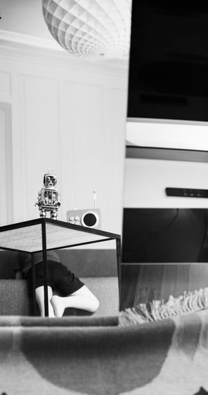 iRobot Legs Toy Robot Family LeicaM9 Blackandwhite Homeportrait Son Portrait From Behind Living Room EyeEmNewHere The Portraitist - 2018 EyeEm Awards Home Interior Furniture Home The Creative - 2018 EyeEm Awards Domestic Room Reflection Mirror Indoors
