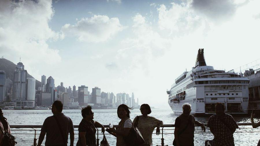 Port Hong Kong Victoria Harbour EyeEm Selects Public Park Path HongKong Men Women Silhouette Sky