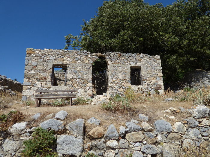 Architecture Bench Blue Built Structure Damaged Day Deterioration Grass Grece History Kos Nature Obsolete Old Old Ruin Palaio Pyli Rock - Object Ruined Run-down Sky Stone Stone - Object Stone Material Stone Wall The Past
