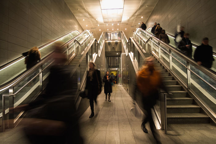 Blurred Motion City Life City Life Copenhagen Copenhagen Metro Depth Of Field Diminishing Perspective Escalator Indoors  Metro People Public Transportation Railing Railroad Station Slow Shutter Staircase Stairs Steps Steps And Staircases Subway Subway Station The Way Forward Walking