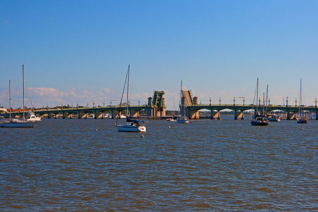 St. Augustine, FL  Architecture Blue Building Exterior Built Structure Clear Sky Day Draw Bridge Harbor Mast Mode Of Transport Moored Nature Nautical Vessel No People Outdoors River Sailboat Sky Transportation Water Waterfront Yacht