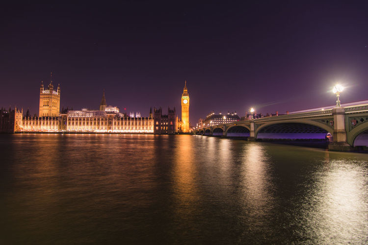Low angle view of big ben by bridge over river against sky