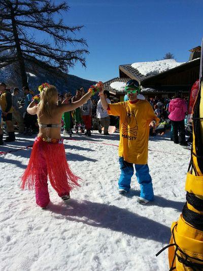 Dancing People Watching Snow Sun