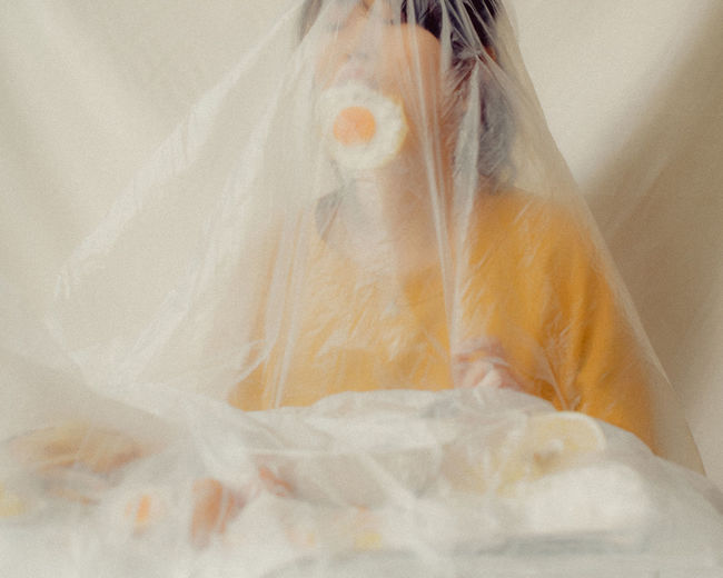 The Creative - 2018 EyeEm Awards The Portraitist - 2018 EyeEm Awards The Still Life Photographer - 2018 EyeEm Awards Bed Close-up Covering Furniture High Angle View Indoors  Linen Lying Down One Person Plastic Bag Real People Sheet Textile Veil Wedding Wedding Dress White White Color Women