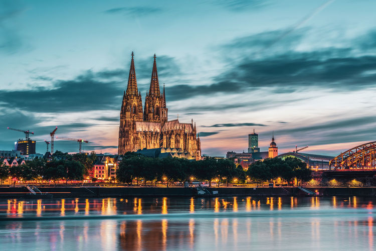Panoramic view of cologne cathedral at the blue hour, germany.