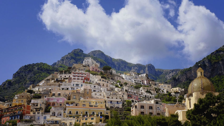 Beautiful Colors Cloud - Sky Cloudy Costiera Amalfitana Famous Place Italy Landscape Low Angle View Mountain No People Positano Positano Positano Italy Residential Structure Sky Town Travel Destinations