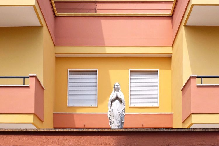 Low angle view of statue in building