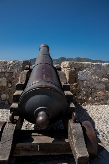 Ibiza Ibiza, Spain Dalt Vila Baleares Architecture Blue Built Structure Cannon Clear Sky Conflict Day Fort History Metal Nature No People Old Outdoors Sky Stone Wall Sunlight The Past Wall War Weapon Summer In The City Ancient Historic My Best Photo