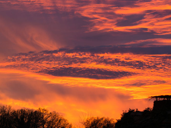 dramatic sunset in december Sunset Cloud - Sky Sky Beauty In Nature Orange Color Dramatic Sky No People Nature Silhouette Outdoors Scenics - Nature December Romantic Sky Awe