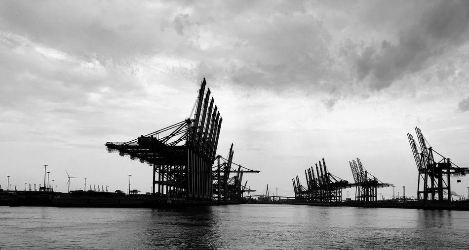 Hamburger Hafen Sky Cloud - Sky Water Nature Built Structure Architecture Waterfront No People Pier Crane - Construction Machinery Sea