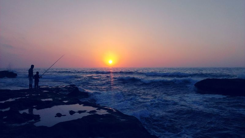 Sunset Fishing Sun Beach Sea Tranquility People Love Rock Sky