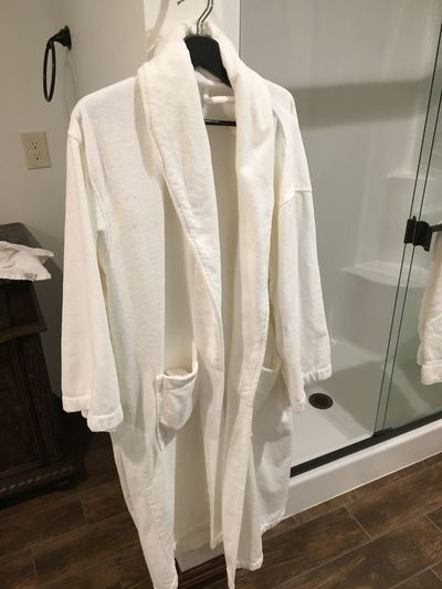 Relaxation EyeEm Selects Hanging Clothing Textile Indoors  No People White Color Bathroom Domestic Room Coathanger Fashion Hygiene Drying Button Down Shirt Dress Low Angle View Domestic Bathroom Clean Home Interior Lifestyles Bathrobe