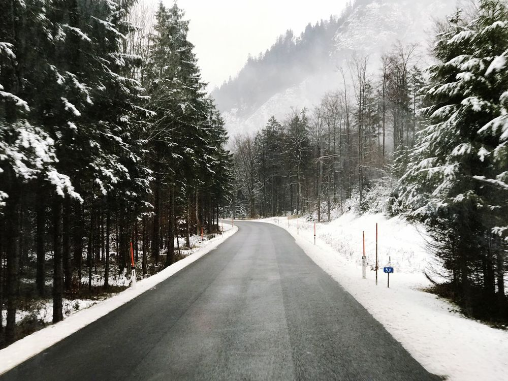 Traveling Home For The Holidays Austria Snow Tree Cold Temperature Winter The Way Forward Nature Weather Day Beauty In Nature Tranquility Outdoors Tranquil Scene Scenics Growth Road No People Branch Landscape Sky
