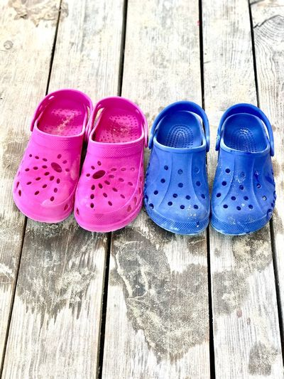 Wood - Material Pair High Angle View Day Shoe No People Pink Color Outdoors Close-up Blue Color