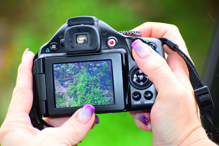 Cropped Hands Of Woman Holding Digital Camera