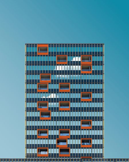 🔶💭🔷︱orange gap Architecture_collection Windows First Eyeem Photo EyeEm Best Shots Minimalist Architecture Minimal Exterior EyeEm Selects EyeEmNewHere The Week on EyeEm Minimalism Façade Clear Sky Skyscraper Blue Business Finance And Industry Façade Sky Architecture Building Exterior Built Structure Office Building High Rise Financial District  Infrastructure Cityscape Tall Building Urban Skyline Construction