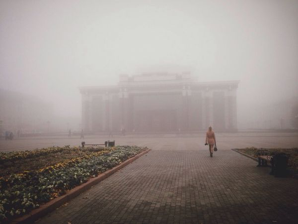 Foggy Day Square Autumn City Weather