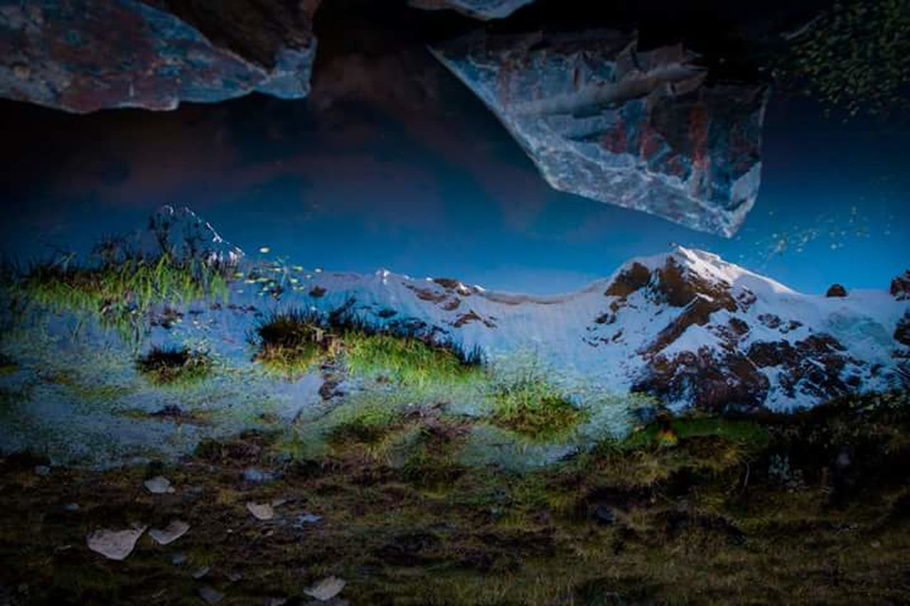 mountain, nature, scenics, no people, outdoors, landscape, mountain range, multi colored, beauty in nature, night, snow, sky, undersea