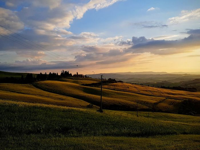 Tuskany Cloud - Sky Betterlandscapes Sunset Tuscany Tuscany Countryside Tree Rural Scene Sunset Beauty Agriculture Summer Field Hill Social Issues Crop  Cultivated Land Agricultural Field Patchwork Landscape Plantation Farm
