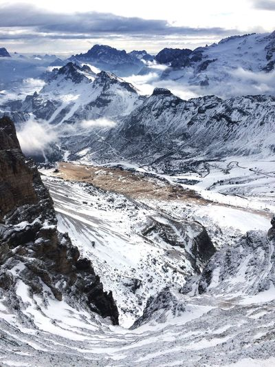 Mountain Italy🇮🇹 Snow Winter Sky Cold Temperature Photography View From Above Dolomites, Italy Dolomiti Miles Away