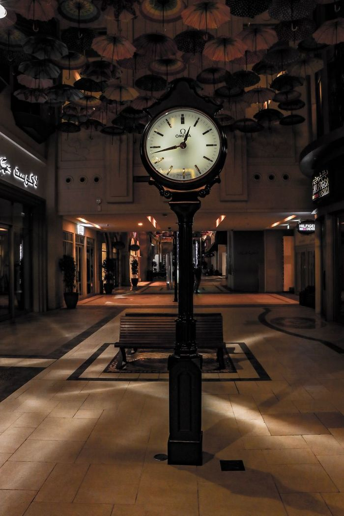 Clock Time Night Illuminated Built Structure Clock Face No People Architecture Minute Hand Indoors  Clock Watch Thevillage UAE Dubai Mydubai DubaiMall Downtown