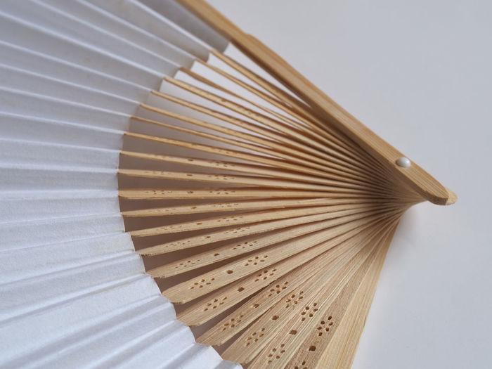 High angle view of umbrella on table