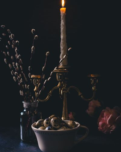 Eggs Quail Eggs Still Life darkness and light Dark And Moody Indoors  Food And Drink Dark Photography Exquisite EyeEm Selects Black Background Flame Burning Candle Close-up Candlestick Holder Candlelight Darkroom Lit The Still Life Photographer - 2018 EyeEm Awards