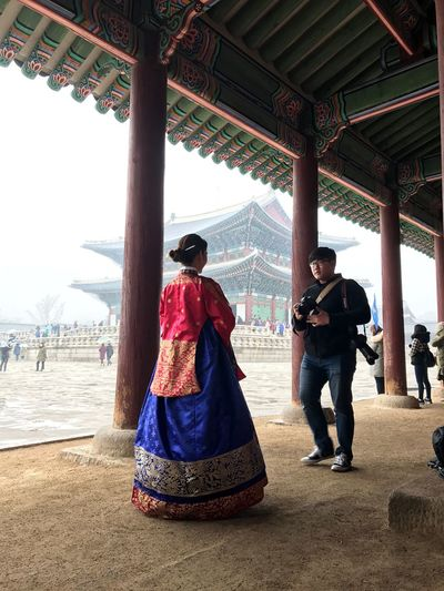 Gyeongbokgung Palace, Seoul, South Korea, January 2017. Travel Destinations Day Traditional Clothing Built Structure Two People Architectural Column Vacations Portrait Outdoors Architecture Standing