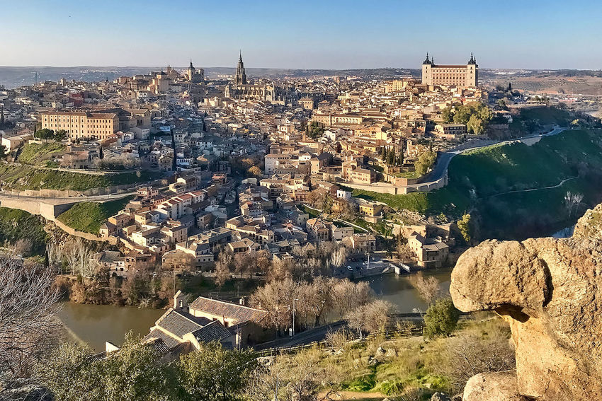A view to Toledo in Spain. Aerial View Alcazar Architecture Building Exterior Buildings Built Structure Cathedral City Cityscape Day High Angle View No People Outdoors River Sky SPAIN Toledo Travel Destinations Urban Skyline