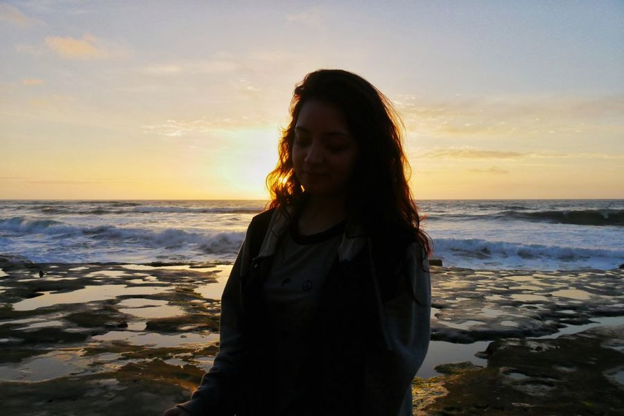 Sea Long Hair Beach Sunset Only Women Adults Only Horizon Over Water Water One Woman Only Adult Young Adult One Person Sunlight One Young Woman Only Sky Outdoors Wave Beauty People Nature