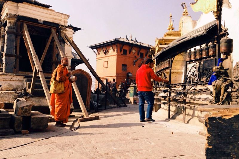 Buddhist Monks Monkey Temple Kathmandu Kathmandu, Nepal Nepal Buddhist Temple Buddhist Prayer Wheels Prayer Wheels