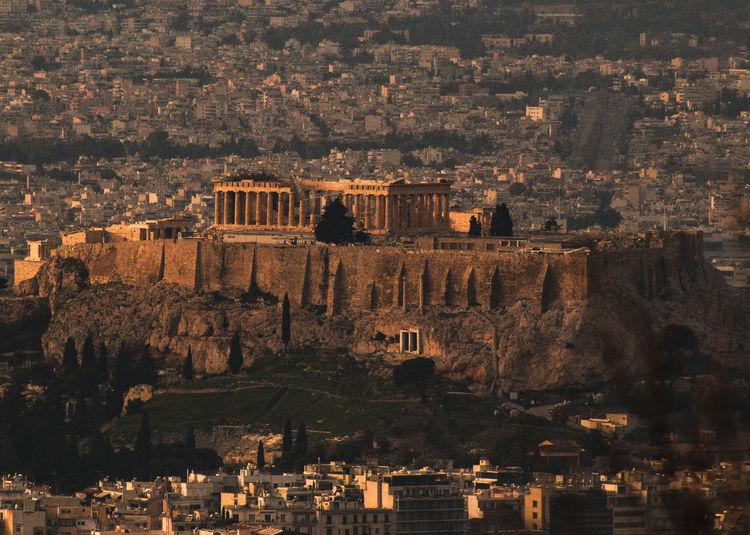 High angle view of acropolis of athens